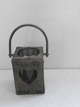 110045MK Vintage small decorative wrought iron candle lantern with handle