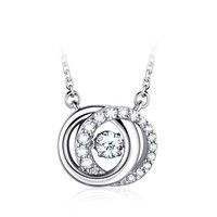 New Products 2015 Innovative Product Double Circle Connect Round Diamond Neck Pendant Findings Lovers Fashionable Jewelry