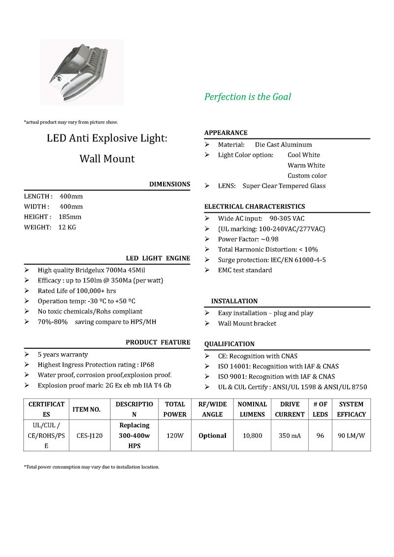 Brochure 120W anti-explosive Light