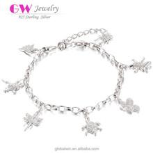 Silver Chain Link Italian Charm Bracelet With All Kinds Animal Bracelet