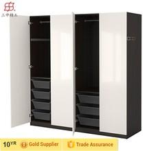 european style bedroom wooden almirah designs, ikea cheap modern pvc/melamine/MDF cabinet wardrobe, walk in storage closet