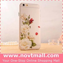 2015 Cheap White Rose Flowers Clear Cell Phone Case For Iphone 4.7 With Matt Plastic