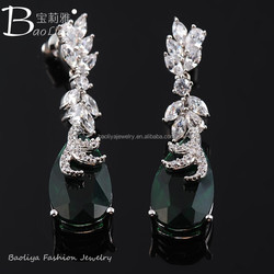 Hot Selling Latest Sapphire/Emerald/White/Red Fashion Platinum Plated Drop Earrings