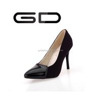 2015 woman little round toe high heels thin heels dress flock slip-on shoes