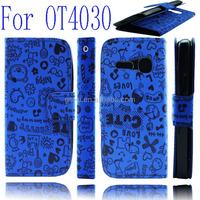 Spare Parts Wallet Flip Leather Case For Alcatel One Touch Spop OT 4030 D