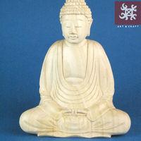 hand carved crocodile wood buddha