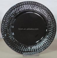 cheap bulk round shape embossed design black ceramic plate