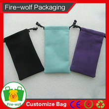 Durable Microfiber Sunglasses Cloth Bag With String And Bead