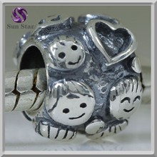 wholesale Oxidized boys girls love smiling face bead charms