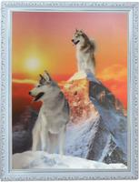 3D Fashion design Wolf wall art wooden picture frame