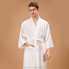 white kimono collar triangle pattern bathrobe contain 65% cotton and 35%polyester