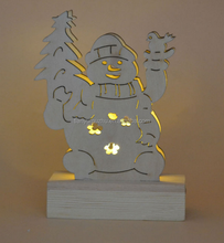 Christmas laser cutting snowman wooden decoration with LED light
