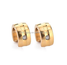 Fashion Men Women Small 18K Gold Silver Platinum Plated Stainless Steel Stud Earrings Hoop Earrings With Crystal