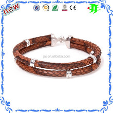 High class genuine python leather bracelet ,luxury leather bracelet two True stingray leather wristwrap