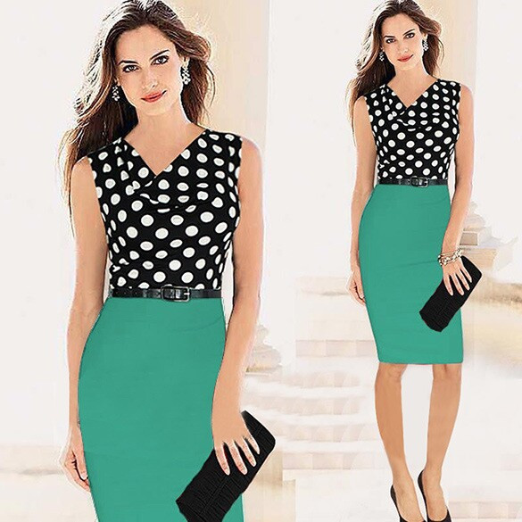 Ladies-Elegant-Knee-Length-Dresses-Women-Sleeveless-Dot-Empire-Waist-Contrast-Color-OL-Wear-to-Work