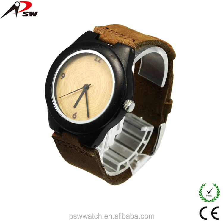 natural character handmade unique sandal Enoby leather wooden watch men wood watch wholesale