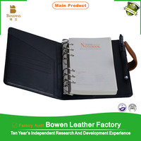 2015 business office pu leather cover notebook with card/pen/calculator holder