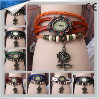 Free Shipping Original High Quality Women Genuine Leather Vintage Watches Bracelet Wristwatches Rose Flower Pendant VW008