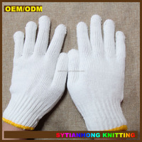 cheap 7 guage white cotton knitted working gloves