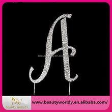 New Brand New Crystal Rhinestone Letter A Cake Topper Wedding Decoration Free Shipping