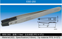 High Precision ESD-250 Vetus Stainless Steel Tweezers With Flat Nose