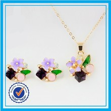 Colorful stone newest flower design gold necklace set delicate african gold plating jewelry set