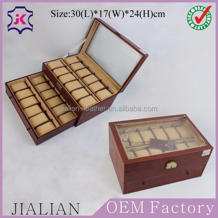 da nâu đồng hồ hộp 24 mens đầu kính khóa đồng hồ hiển thị trường hợp xem tổ chức với ngăn kéo