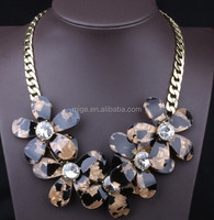 2015 new collection 4 color options Leopard resin flower murano glass flower Acrylic material spring summer necklace N2316-1