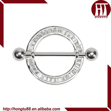 HT Round 316L Stainless Steel Nipple Ring Shield with Square Crystals Body Piercing Jewelry