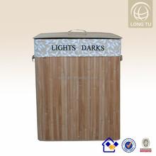 Household Fashion design Compartment folding bamboo large size laundry basket