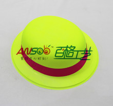 Party hats supplies PVC plastic colorful neon round party hats with neon slip