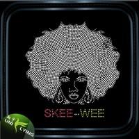 Skee-wee afro lady natural hair hot fix rhinestone motif