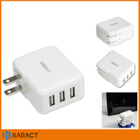 3 port portable smart mobile android phone charger