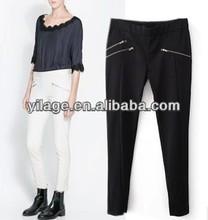 nuevos productos para damas elástico de ocio pantalones largos 3 con bolsillos con cremallera