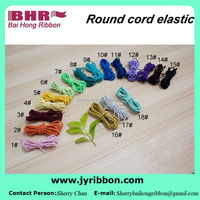 Different size and colors polyester round elastic draw cord for shoes accessories