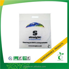 Full biodegradable and reusable plastic green shopping die cut bag