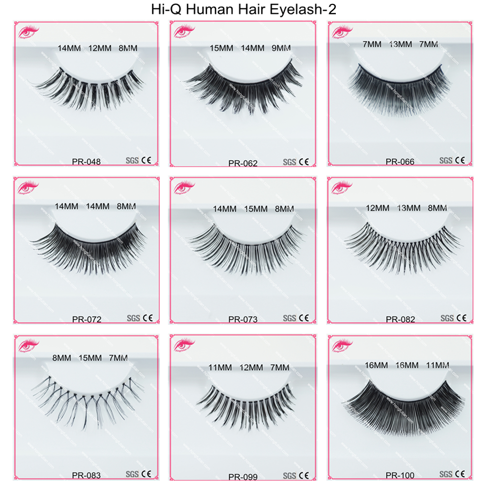 Natural False Eyelashes Wispy Style Human Hair Lash Wholesale Custom