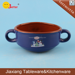 dark blue terracotta ceramic bowl with double ears