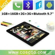 Recientes 9,7 pulgadas Allwinner A10 3g Tablet PC Blutooth / HDMI Android 4.0 teléfono portátil llamada