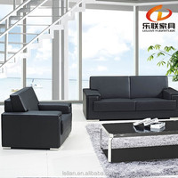 Workwell classic leather office sofa with stainless steel S827