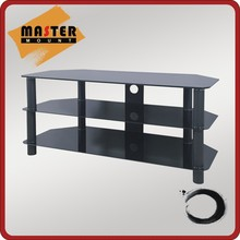 3-Shelf Tempered Glass and steel tube corner TV Stand