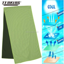 wholesale 100% polyester fabric knitted green towel company logo print