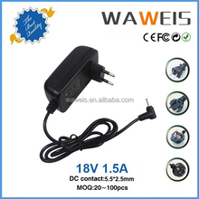 18v 1.5a ac power supply adapter for laptop approved by CE FCC ROHS