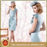 VL130 Light Blue Short Mother of The Bride Dresses Cap Sleeve V-Neck Vestidos Mama De La Novia