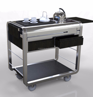 Wood & Stainless steel module restaurant tea service trolley cart