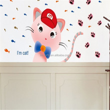 Hot sell promotion Cute Cartoon Cat Wall sticker Wall Decal Removable Wall Decoration decoration Girls room XY1118