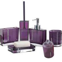 Luxury purple plastic bathroom sanitary accessories set ikea with diamond