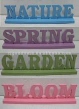 Wood 3D Word Signs for Home - SPRING - GARDEN - NATURE - BLOOM - Assorted