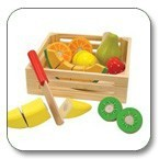 Wooden fruits cutting toy with wooden toy storage boxes