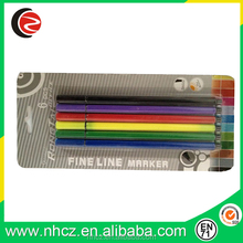 High quality 0.4MM fine liner pen in blister card assorted 6 colors